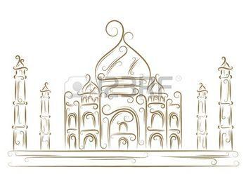 Sketch of the Taj Mahal golden brush photo