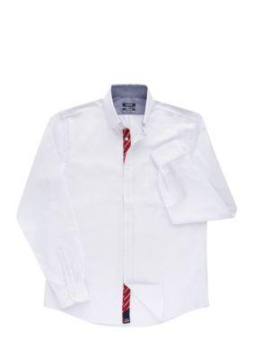 Izod Men's Solid All Over Stretch Slim Fit Dress Shirt - White - Xxlarge