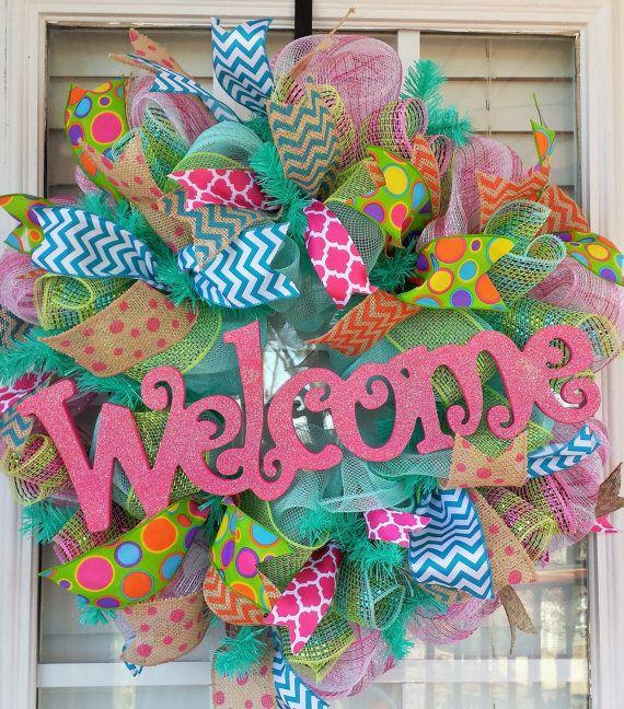 Spring Deco Mesh Wreath, Everyday Welcome Spring Pink Wreath, DELUXE large Summer Wreath, Door Wreath