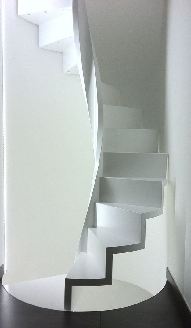 white curving stair from InterbauSpirals Staircases, Staircas Design, Interiors, Curves Stairs, Architecture, Upstairs Downstairs, Spiral Staircases, Design Elements, White Stairs