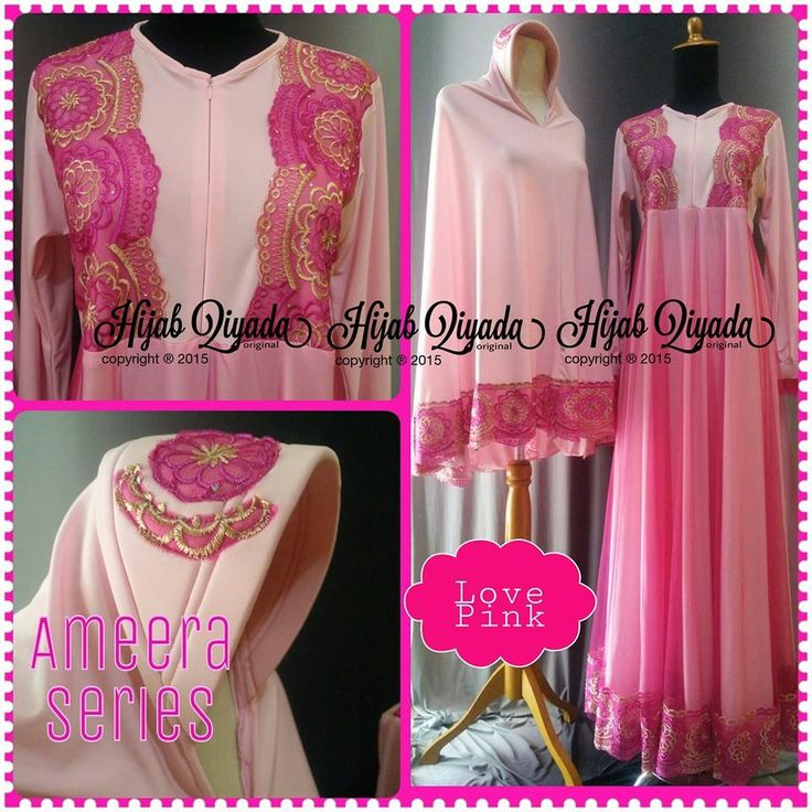 Code : Ameera Love Pink  Size : S M L XL size standart or you can request by your body size  Price : 495.000/set (size standart) dengan bergo standar size XL XXL + 50.000 XXXL +65.000 nambah size bergo tambah +15.000