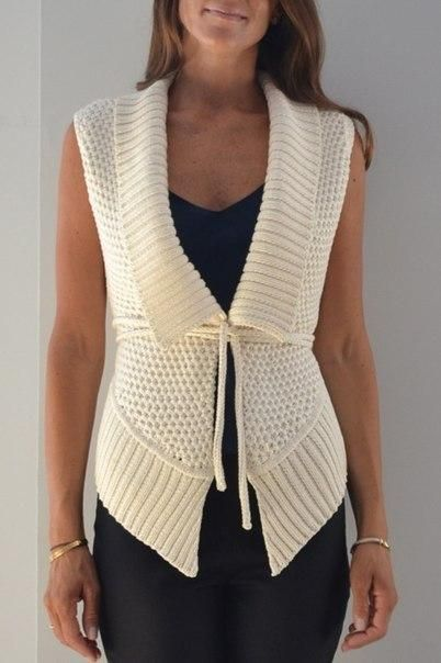 WHITE KNITTED VEST