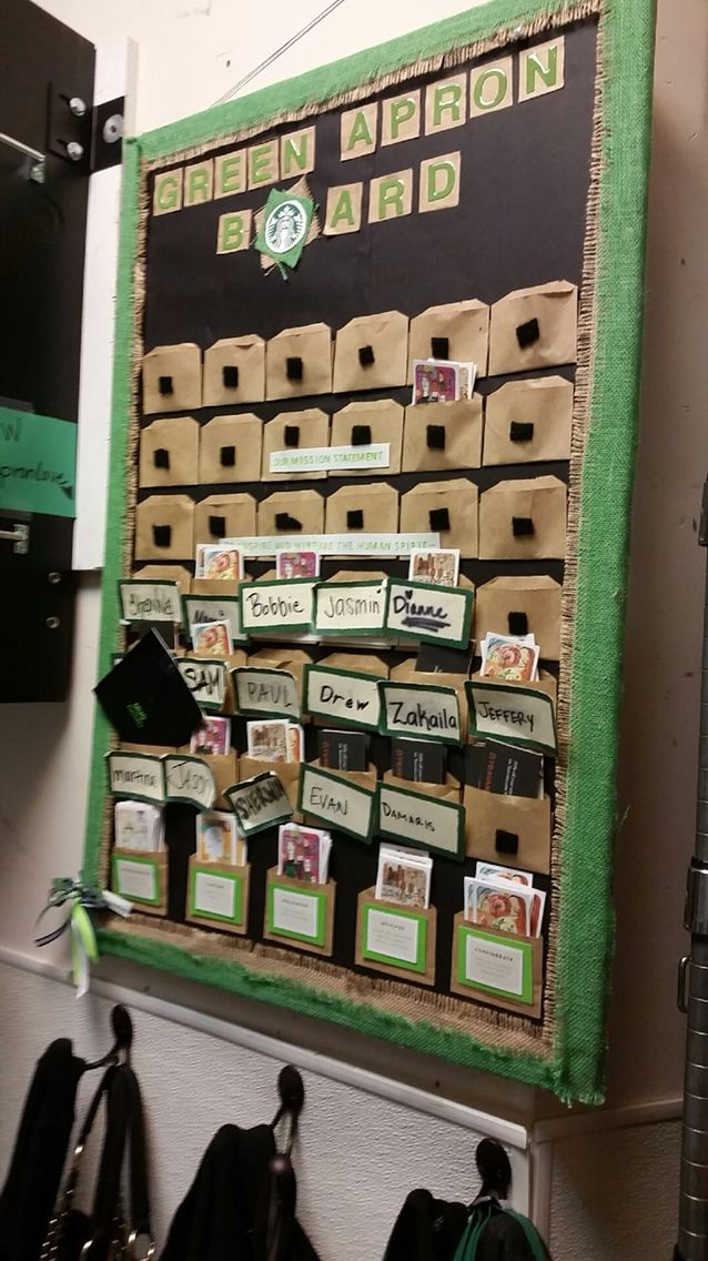 Green apron board.. I think I would make the little pockets out of the burlap as well. That would look better..