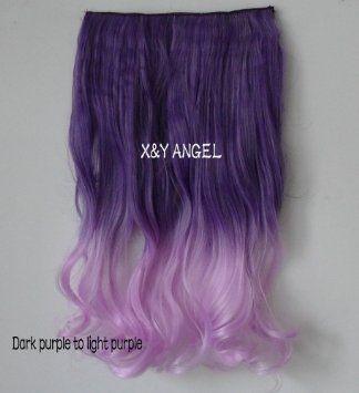 X&Y ANGEL Extensions de cheveux bouclées/ondulées à clipser Cheveux synthétiques épais Bicolore dégradé 16 couleurs