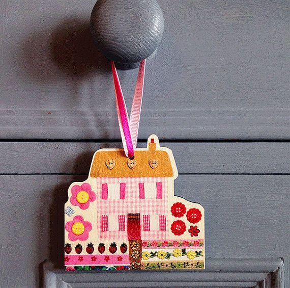 Rose Pink Cottage Gift Tag and Home by MollyMargaretDesigns