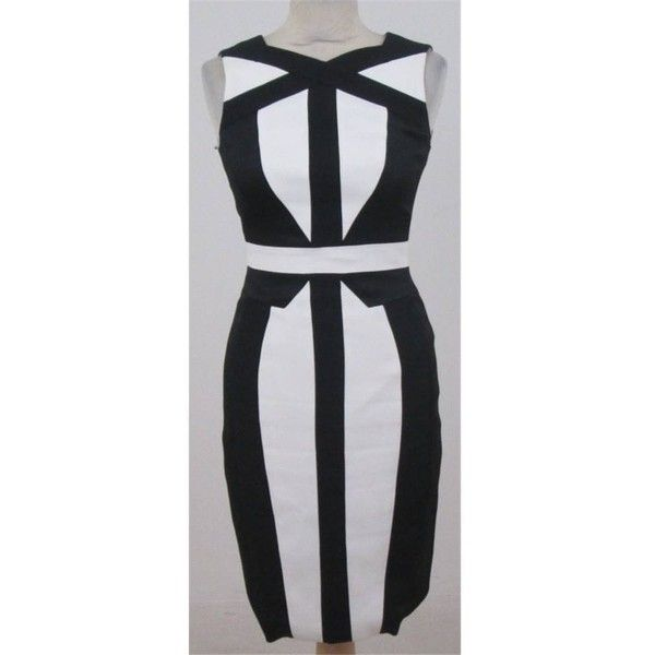 Karen Millen size 8 black and white bodycon dress ($46) ❤ liked on Polyvore featuring dresses, black and white bodycon dress, body con dresses, black and white body con dress, white and black bodycon dress and black white bodycon dress