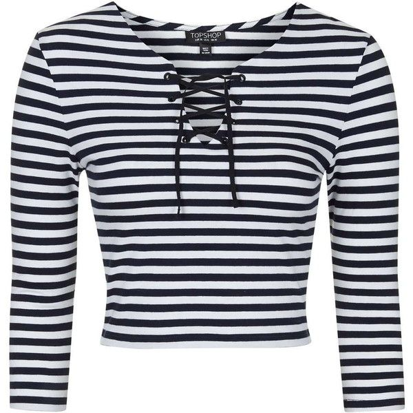 TOPSHOP Tie Front Striped Top ($35) liked on Polyvore ...