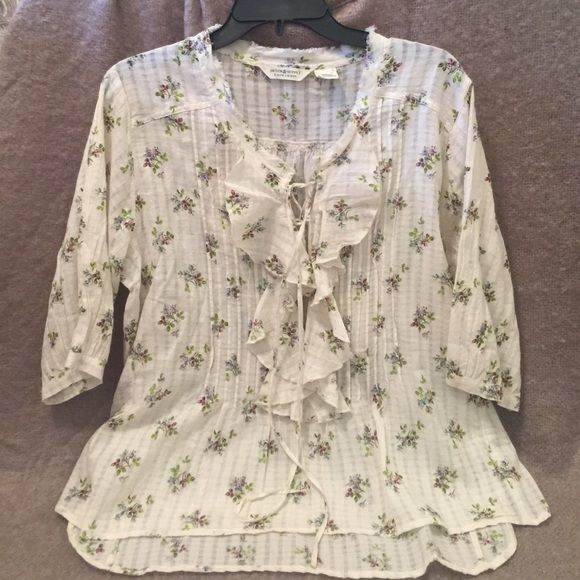 Blouse Denim & Supply Ralph Lauren blouse. 3/4 sleeve with ruffle accent. NWT. Great Spring option. Demin & Supply Ralph Lauren Tops Blouses
