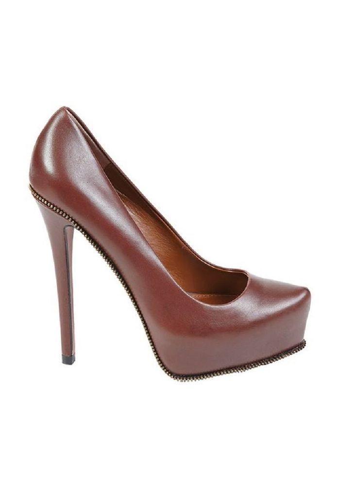 Damen Leder Schuhe Braun Hoher Absatz Stilettos Plattform casual Schuhe