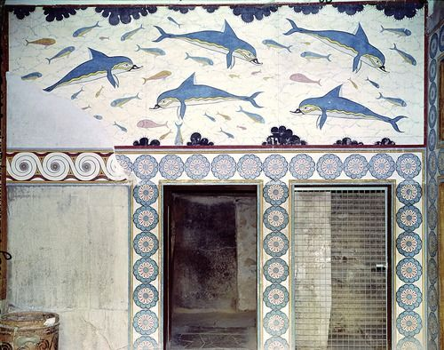 The Fresco of the Dolphins from the Palace of Knossos, Crete, Greece
