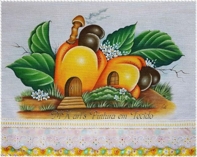 MK art's Pintura em Tecido: Casinhas de frutas e legumes