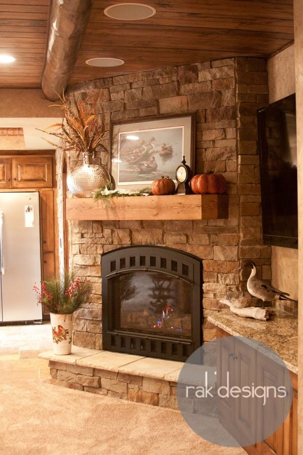 Rustic Fireplace (rak'designs)! Want my basement fireplace to look just like this! Love the ceiling detail as well!