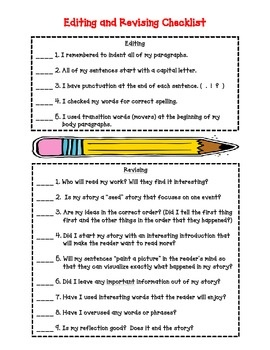 Editing and Revising Checklist for students in grades 3, 4, and 5 - Deb Hanson - TeachersPayTeachers.com