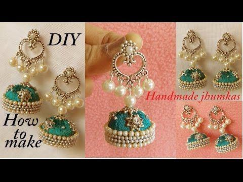 DIY || how to make designer jhumka earrings at home || Silk Thread Chandbali Earrings Tutorial - YouTube