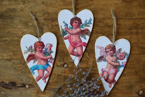 Heart ornament Angels Valentine decor Wedding favors wall handing decoration Wooden heart Valentines day gift Love hearts Rustic Set of 3