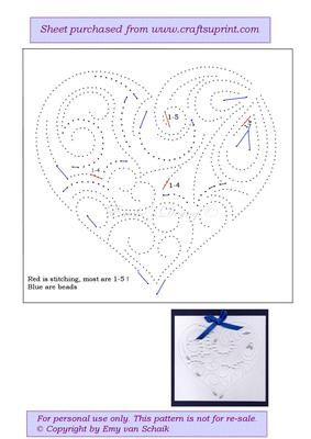 ED054 Valentine heart on Craftsuprint designed by Emy van Schaik - Stitching with beads - Now available for download!