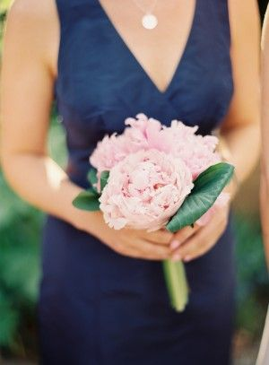 small peony bouquets | Small Pink Peony Bouquet for bm hosta or bannana leaves