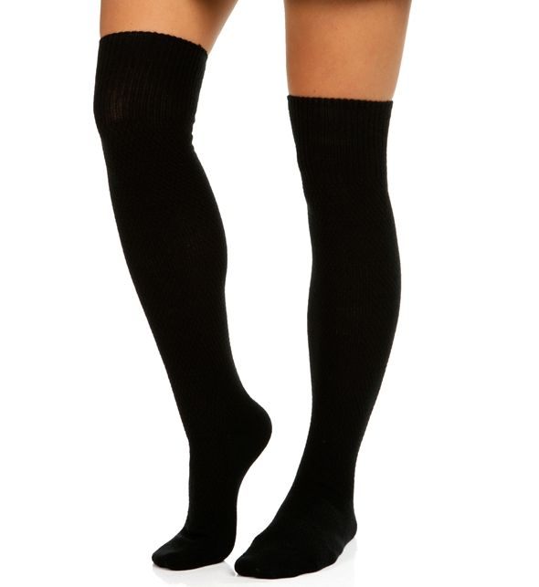 Black Honeycomb Over The Knee Socks at WindsorStore