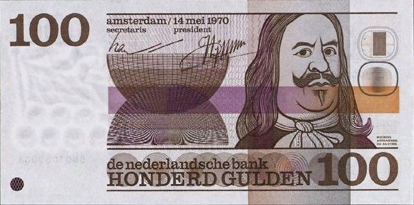 1970 -100 gulden bankbiljet met Michiel de Ruyter - ontwerp Ootje Oxenaar