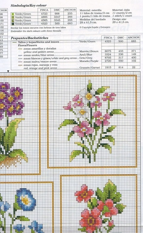 Cross-stitch Flowers, part 4.. color chart on part 3 & 4... Gallery.ru / Фото #3 - цветы - irisha-ira