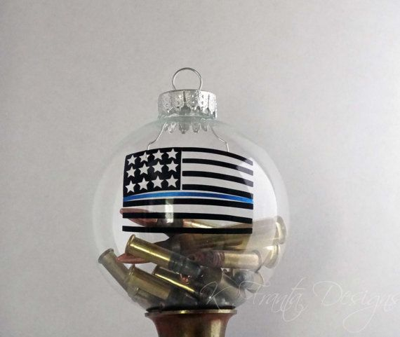 American Flag Ammo Thin Blue Line Clear Glass by KFrantaDesigns