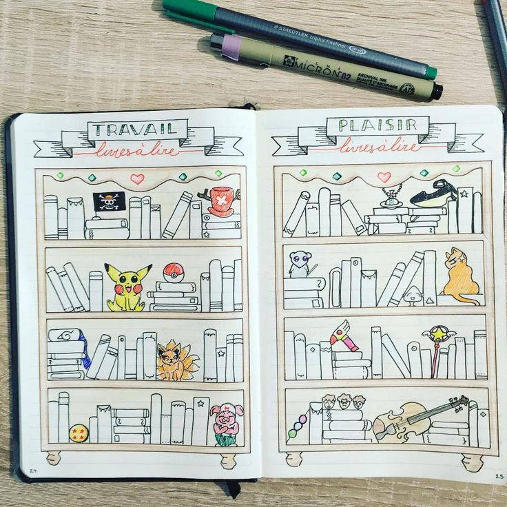 """This is the whole double page of my """"Books to read """" log. I really like how it turned out! Voici la double page finale de mes """"Livres à lire"""" je suis vraiment contente du résultat! #bulletjournal #bulletjournallove #bulletjournalnewbie #plannerd #bujojunkies #plannergirl #chibi #rhodia #micronpens #staedler #lettering #font #frenchplannercommunity #planneraddict #planners #bujo #bujoy #bulletjournallove #journal #manga #mangafan #mangaart #mangagirl #mangadrawing #mangalover #mangaworld"""