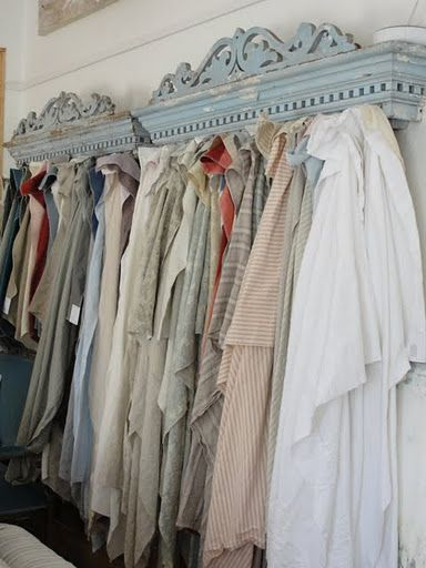 Mounting molding above? linens - I love this idea!!! Old pediments used as a display for ANYTHING!