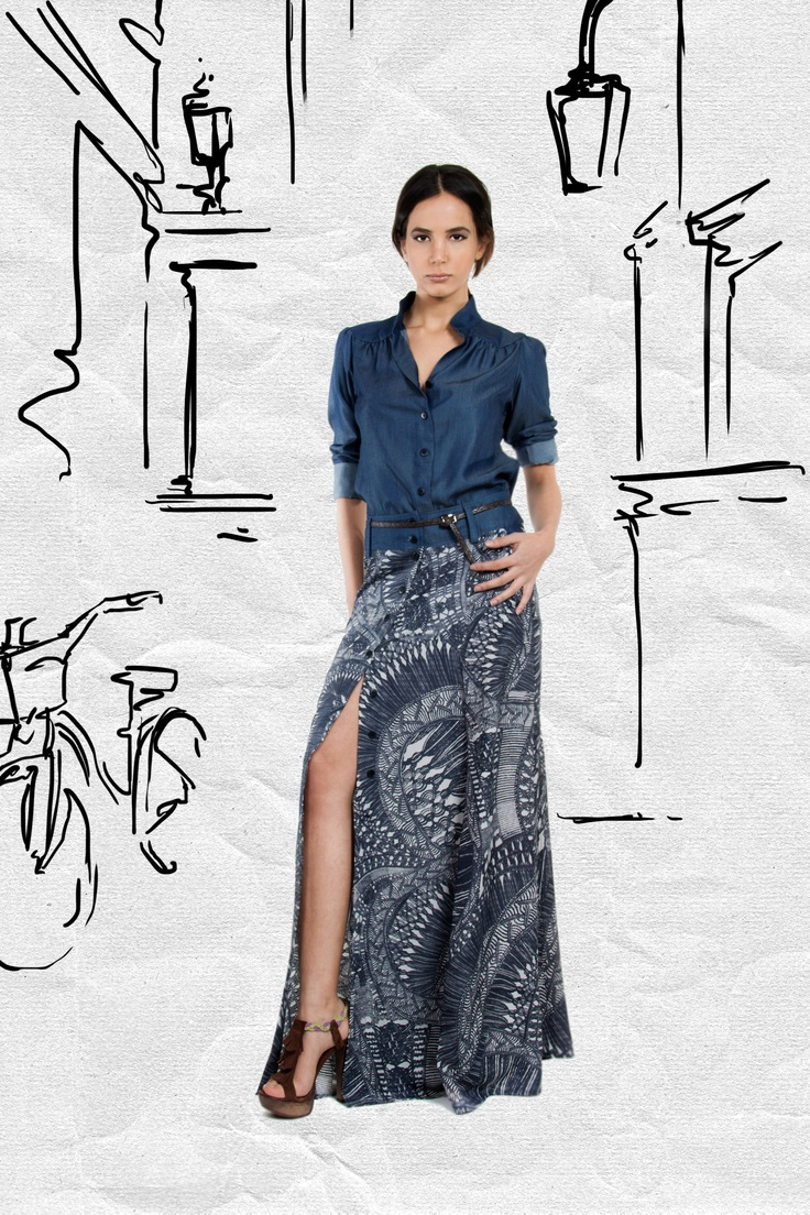 JAC Spring 2013. Pair this button-detailed patterned maxi skirt with a simple tank and stackable gold bangles for an easy boho chic look à la Nicole Richie.