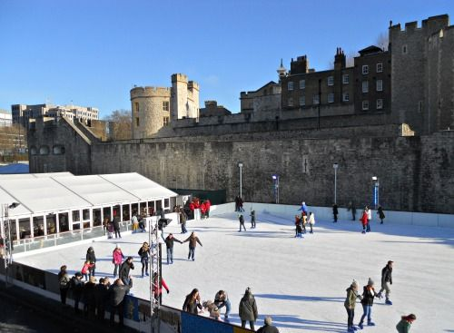 Ice skating at the Tower of London