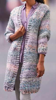 Free Knitting Pattern for Cozy Long Cardigan - This long sleeved coat length sweater is a quick knit in jumbo yarn. Sizes Small to 2X. Designed by Christine Marie Chen for Red Heart. Great for multi colored yarn.