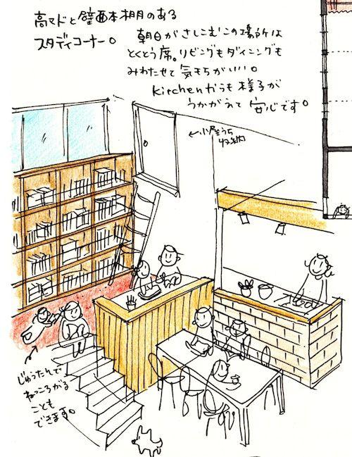 スキップフロアに本棚とスタディコーナー