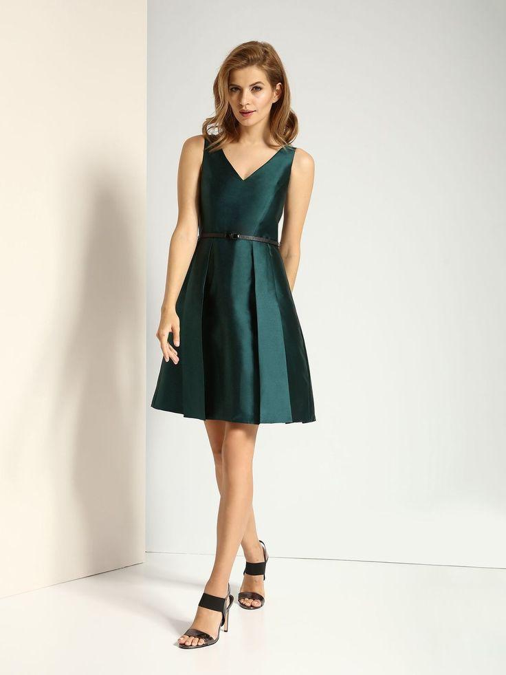 Green Belted Pleated Short Dress - Top Secret - Fashionhub Dresses. Formal Dress, Prom Dress, Matric Dance dress,   R1895.00  http://fashionhub.co.za/green-belted-pleated-dress-by-top-secret.html