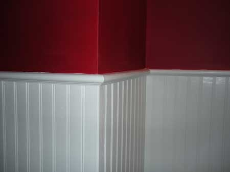 beadboard wainscoting with accent wall office