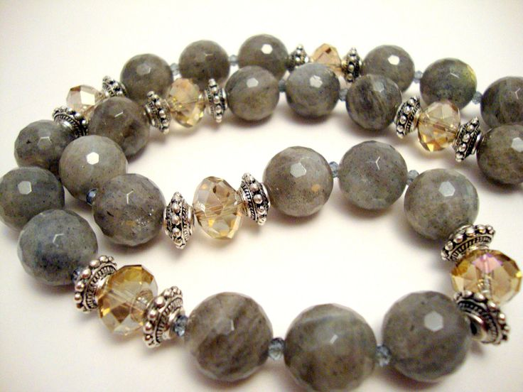 Labradorite Gemstone Beaded Necklace, Citrine Crystal Statement Necklace,  Pewter Accent Beads on Etsy