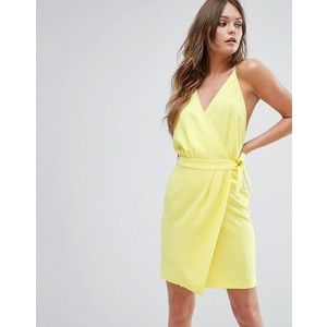 BA&SH Yellow Wrap Around Mini Dress With Strappy BAck