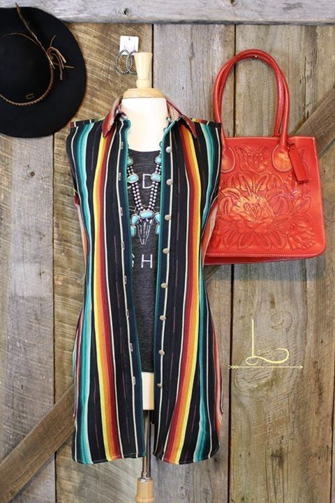 "The New ""Silverado"" Dress or Duster in Black Serape!! We're pretty crazy about this one!! Shown with our Santa Fe Squash Blossom and Rosa Tote   Click link for details>>https://shopltrading.com/collections/new-arrival# #ShopLTrading #Silverado #MadeintheUSA #SouthwestChic #WesternChic"