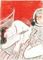 Attente, Lithographie, du peintre, Alexandre, FASSIANOS, Signée et numérotée au crayon