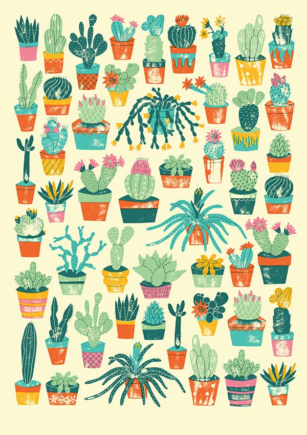 Potted Cacti by Harriet Taylor Seed, via Behance