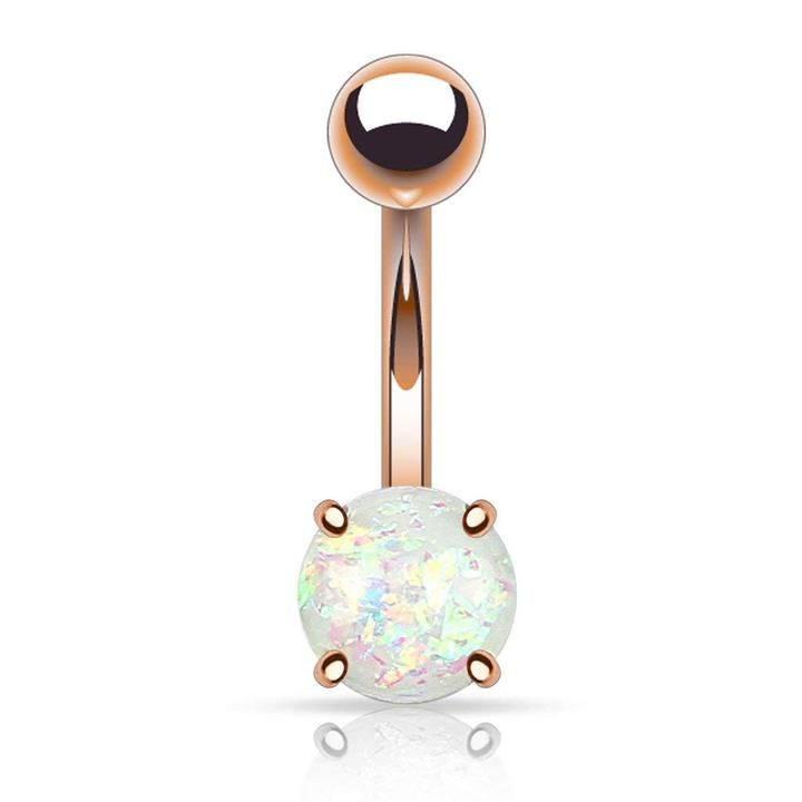 Fifth Cue 14G Synthetic Opal Glitter Ball 316L Surgical Steel Nipple Bars