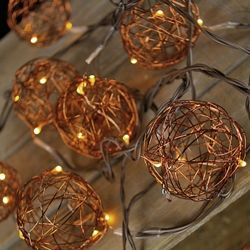 LED Copper Wire Ball Patio Lights, Battery Operated, Timer Feature