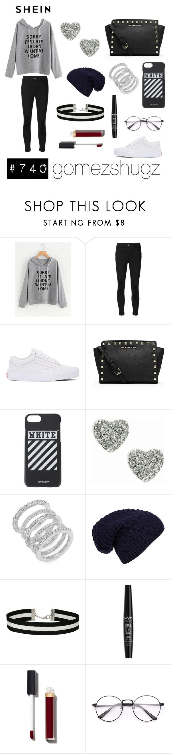 """""""gray, grey, black, white, silver"""" by gomezshugz ❤ liked on Polyvore featuring J Brand, Vans, MICHAEL Michael Kors, Off-White, Lipsy, Cole Haan, WithChic, Miss Selfridge, NYX and Chanel"""