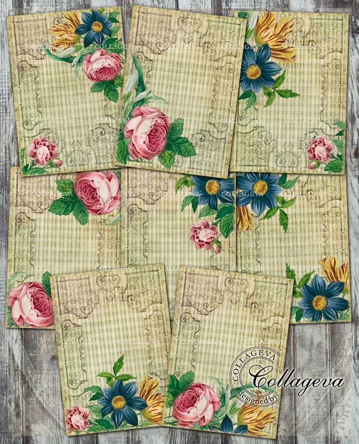 Vintage Frame Digital Tags Cards, Grunge Plaid Background Shabby Chic ACEO ATC, Tulip, Pink Rose, Blue Dahlia, Khaki Tan Beige Checkered by collageva on Etsy