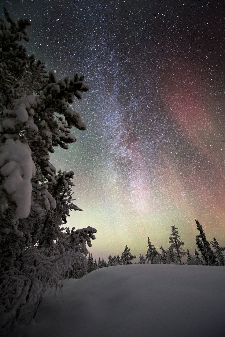 Faint aurora and the milky way, Yellowknife by Adam Hill.