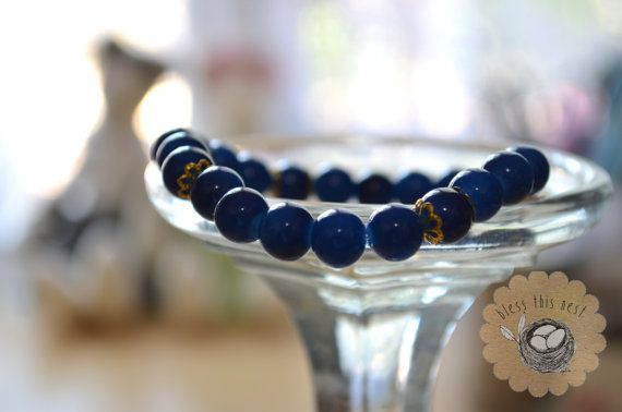 Navy Glass Bead Bracelet with Gold Accents