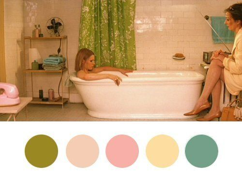 Color Inspiration, Wes Anderson Style — Wes Anderson Palettes A little Royal Tenenbaum bath scene turned color palette inspiration.