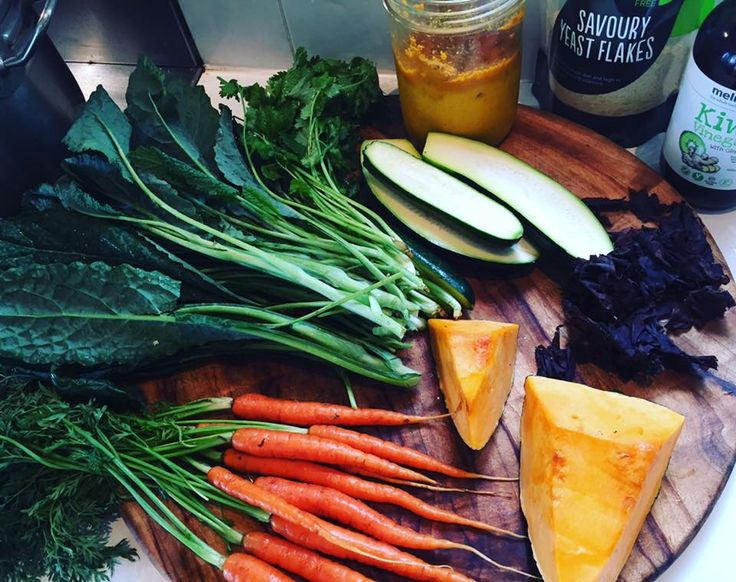 Veggie soup for 3 days, or one day a week ongoing. I start with veggie stock and add my #turmericpaste which contains turmeric, garlic, ginger, black pepper and coconut oil. I then add coriander stems and leaves, #dulseflakes, and loads of veggies like kale, carrots, zucchini, celery, pumpkin. I sometimes add some #yeastflakes or Lifestreams 'naturalBcomplex' for a hit of vitamin B, then season with unrefined salt and cracked pepper. I serve it with Made In Hemp seeds for protein...