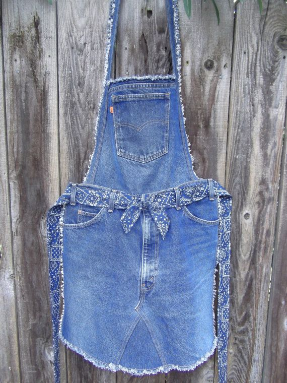 Recycled denim overall apron by JoMommasSignsNSeams