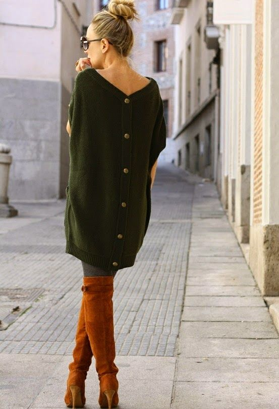 Dark Green Oversized Back Button Cardigan