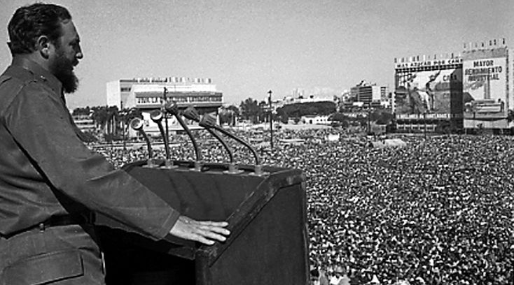Fidel Castro addresses the crowd during an event at Revolution Square in Havana in this undated file photo © Prensa Latina