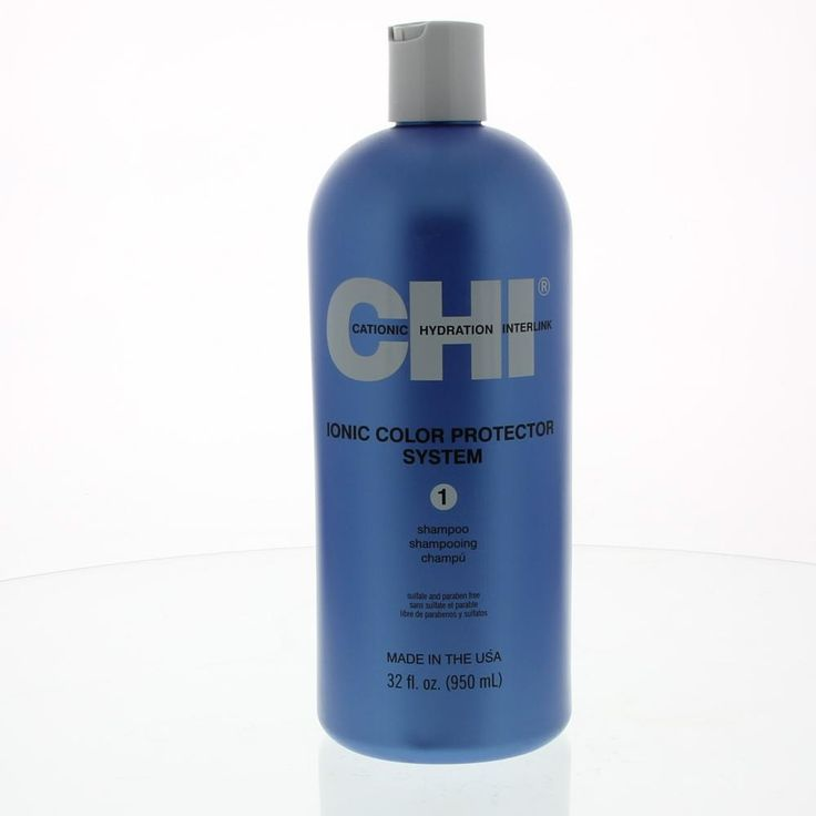 CHI Ionic Color Protector System Shampoo Stap 1 Gekleurd Haar 950ml  Description: CHI Ionic Color Protector System Shampoo.Sulfaatvrije shampoo verrijkt met Chi Ionic Technology. Een milde reinigende shampoo die er voor zorgt dat de kleur na een haarkleuring minder snel vervaagt en het haar de natuurlijke glans en veerkracht behoudt.Gebruik: Maak het haar nat en breng de shampoo gelijkmatig aan op uw haar. Goed laten schuimen en daarna uitspoelen. Herhalen indien gewenst. Vervolg de…